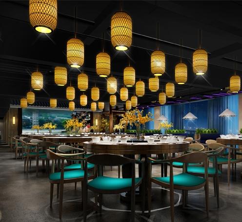 广州渔意私房菜餐厅店灯光改造-餐饮照明设计