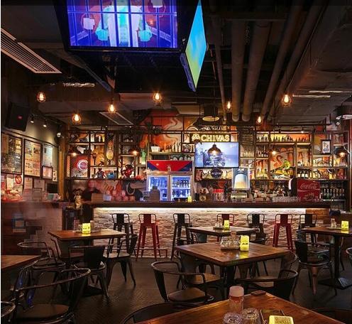 美式风格餐厅灯光设计--来吃吧美式餐厅