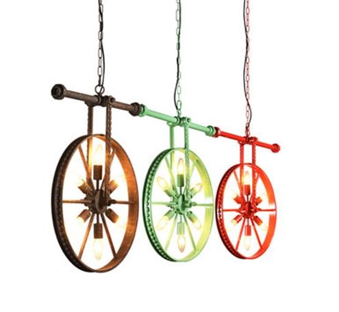 怀旧车轮铁艺吊灯