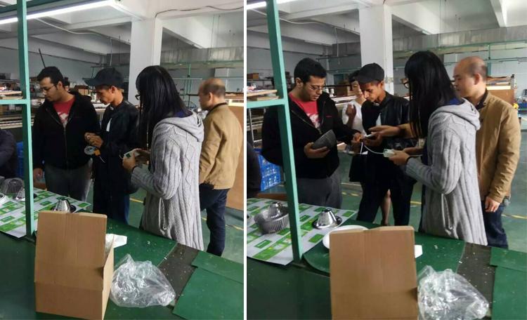 客户来访:热烈欢迎印度客户来厂考察筒灯灯具